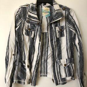 Denim Striped biker jacket